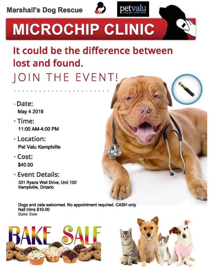 Microchip Clinic And Nail Trim At Pet Valu Kemptville Marshall S Dog Rescue